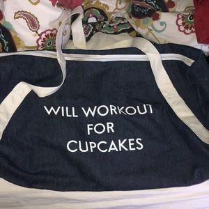 Handbags - Will workout for cupcakes denim duffle bag